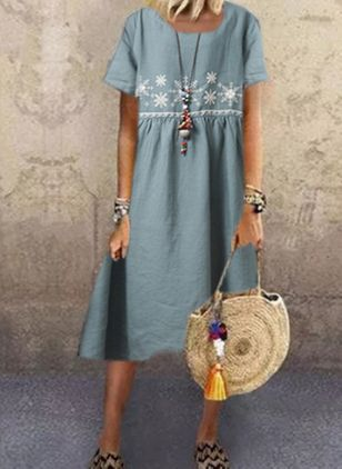 Casual Floral Tunic Round Neckline A-line Dress (4456974)
