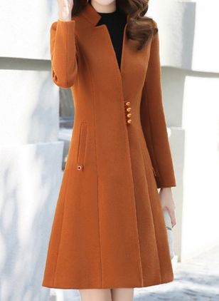 Long Sleeve V-neck Buttons Pockets Coats (106821210)