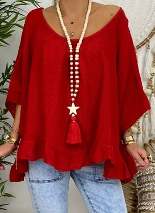 Plus Size Solid Casual Boat Neckline 3/4 Sleeves Blouses (4662083)