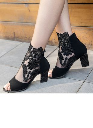Peep Toe Chunky Heel Shoes