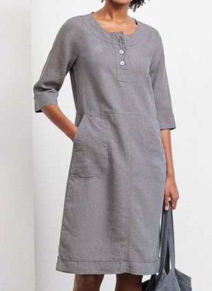 Casual Solid Tunic Round Neckline Shift Dress (4457511)