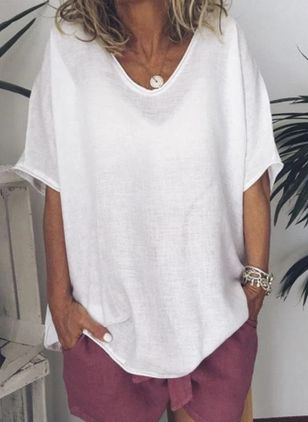 Solid V-Neckline Half Sleeve Casual T-shirts (4072933)