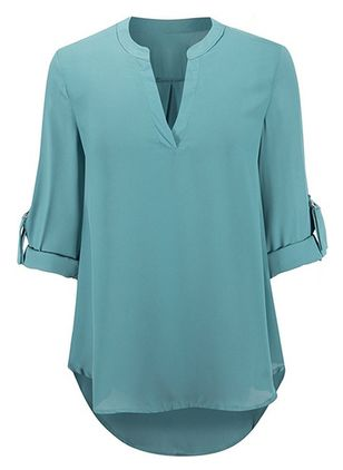 Solid Casual Half Sleeve Blouses