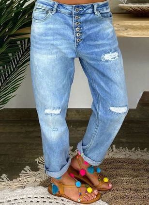 Casual Loose Hollow Out Buttons Pockets Mid Waist Polyester Jeans Pants (147019562)
