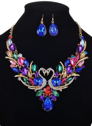 Animal Water Drop Round Crystal Necklace Earring Jewelry Sets