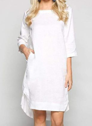 Casual Solid Tunic Round Neckline A-line Dress (5502436)