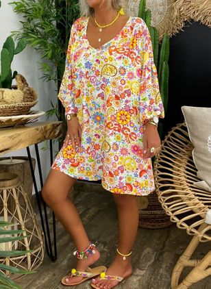 Casual Floral Tunic V-Neckline A-line Dress (4219676)