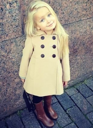 Girls' Casual Solid Collar Coats