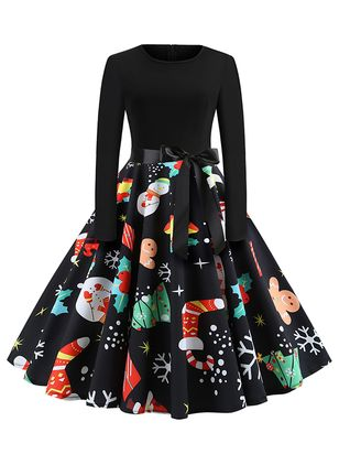 Floral Long Sleeve A-line Dress