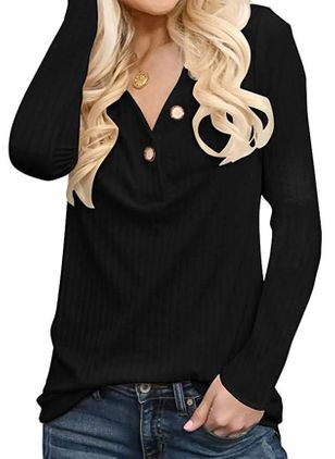 V-Neckline Solid Casual Loose Regular Buttons Sweaters (101399092)