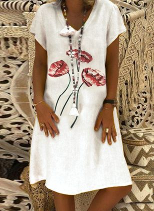 Floral Tunic V-Neckline Knee-Length X-line Dress