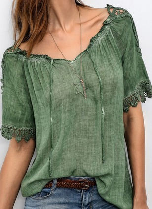 Solid Off the Shoulder Half Sleeve Blouses
