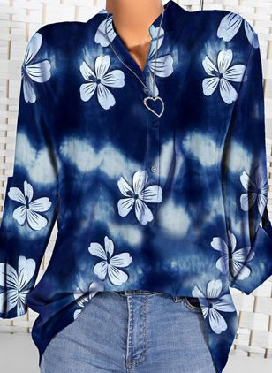 Floral Casual Round Neckline Long Sleeve Blouses (100547102)