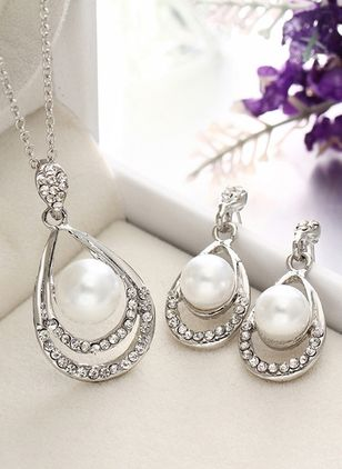 Water Drop Pearls Necklace Earring Jewelry Sets (4074263)