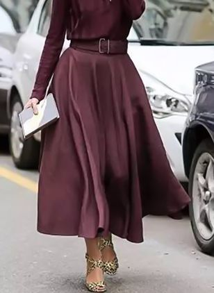 Solid Mid-Calf Casual Skirts