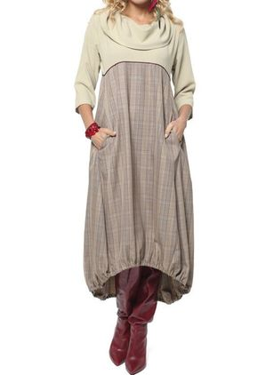 Casual Plaid Pockets Round Neckline O Dress (1363466)