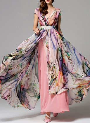 Floral Sashes Wrap V-Neckline X-line Dress (1172838)