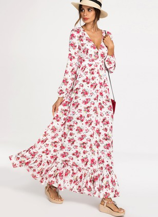 Floral Zipper Long Sleeve Maxi X-line Dress