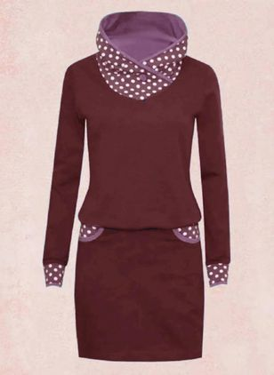 Casual Polka Dot Sweatershirt Draped Neckline Sheath Dress (112236644)