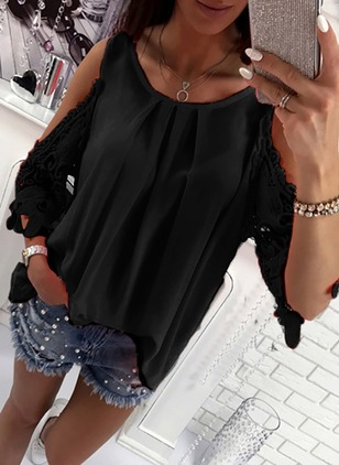 Solid Cute Polyester Round Neckline 3/4 Sleeves Blouses