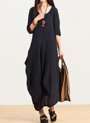 Solid Peasant Half Sleeve Maxi Shift Dress