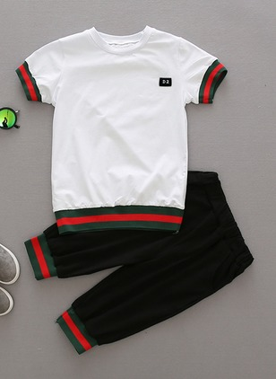 Boys' Casual Color Block Daily Short Sleeve Clothing Sets