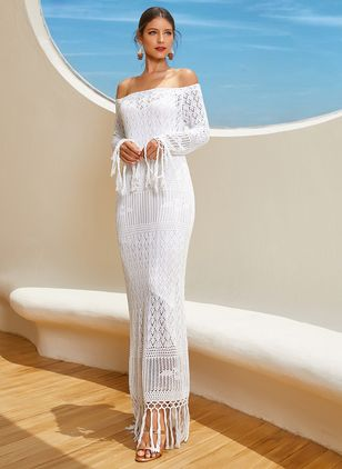 Solid Pencil Off the Shoulder Maxi Shift Dress (1160523)