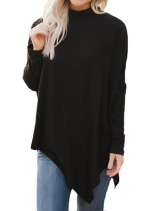Solid High Neckline Long Sleeve Blouses