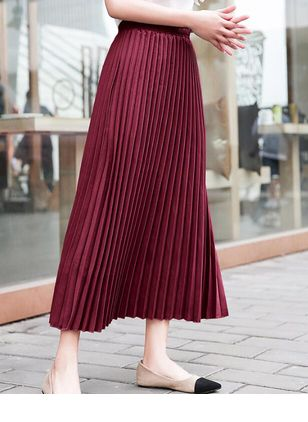 Solid Maxi Casual Skirts (4348218)