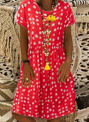Casual Polka Dot Tunic Round Neckline A-line Dress (4209034)