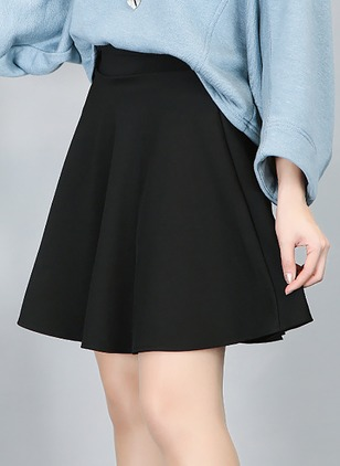 Cotton Blends Solid Above Knee Casual None Skirts