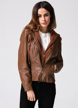 Leather & Faux Leather Long Sleeve Hooded Pockets Jackets