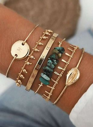 Casual Round Bangle Bracelets (4456903)