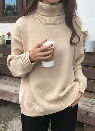 High Neckline Solid Loose Regular Shift Sweaters