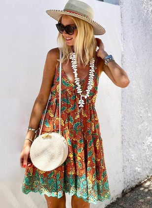 Floral Slip Sleeveless Above Knee A-line Dress