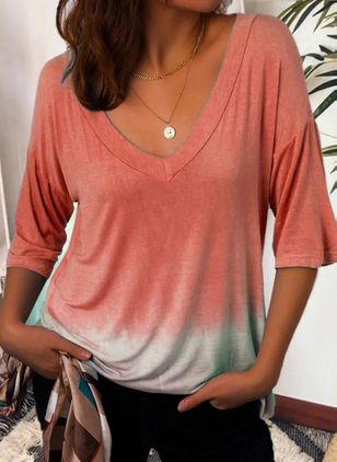 Color Block V-Neckline Half Sleeve Casual T-shirts (106586774)
