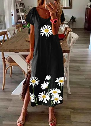 Robes Casual Florale Manches courtes Maxi (146949660)