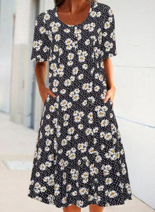 Casual Floral Tunic Round Neckline A-line Dress (101326555)