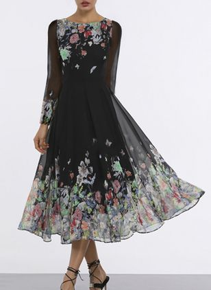 Floral Round Neckline Long Sleeve Midi X-line, Dress