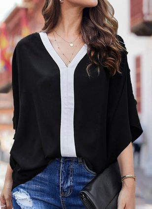 Color Block Casual V-Neckline 3/4 Sleeves Blouses (111109941)