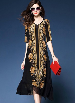Arabian Floral None V-Neckline Shift Dress (1049166)