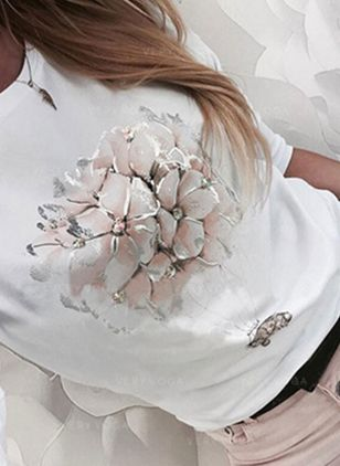 Floral Round Neck Long Sleeve Casual T-shirts (147005258)