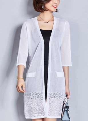 Polyester 3/4 Sleeves Collarless Hollow Out Coats