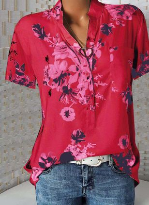 Floral Casual Stand Collar Short Sleeve Blouses (1292898)