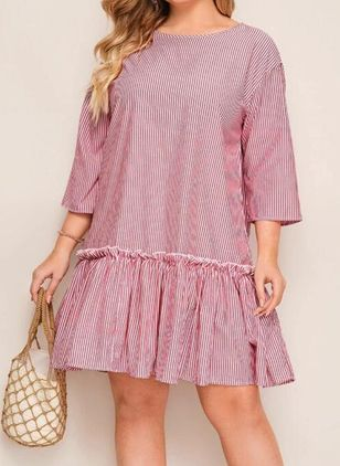 Plus Size Casual Stripe Tunic Round Neckline A-line Dress (6046922)
