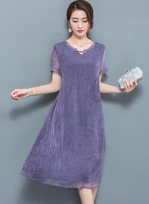 Silk Solid Short Sleeve Knee-Length Casual Dresses  ...