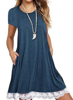 Casual Solid Lace Round Neckline A-line Dress (1506300)
