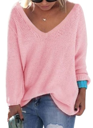 Cotton V-Neckline Solid Loose Sweaters