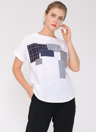 Cotton Blends Geometric Round Neck Short Sleeve Casual T-shirts