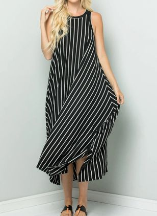 Casual Stripe Tunic Round Neckline Shift Dress (4210106)